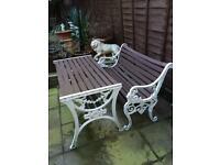 Victorian style bench & garden table