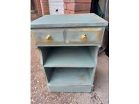 Eclectic verdigris, gold and grey upcycled tall bedside unit