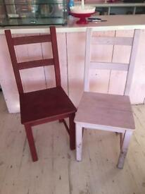 Wooden Chairs x2 / Dining / Kitchen / Upcycle