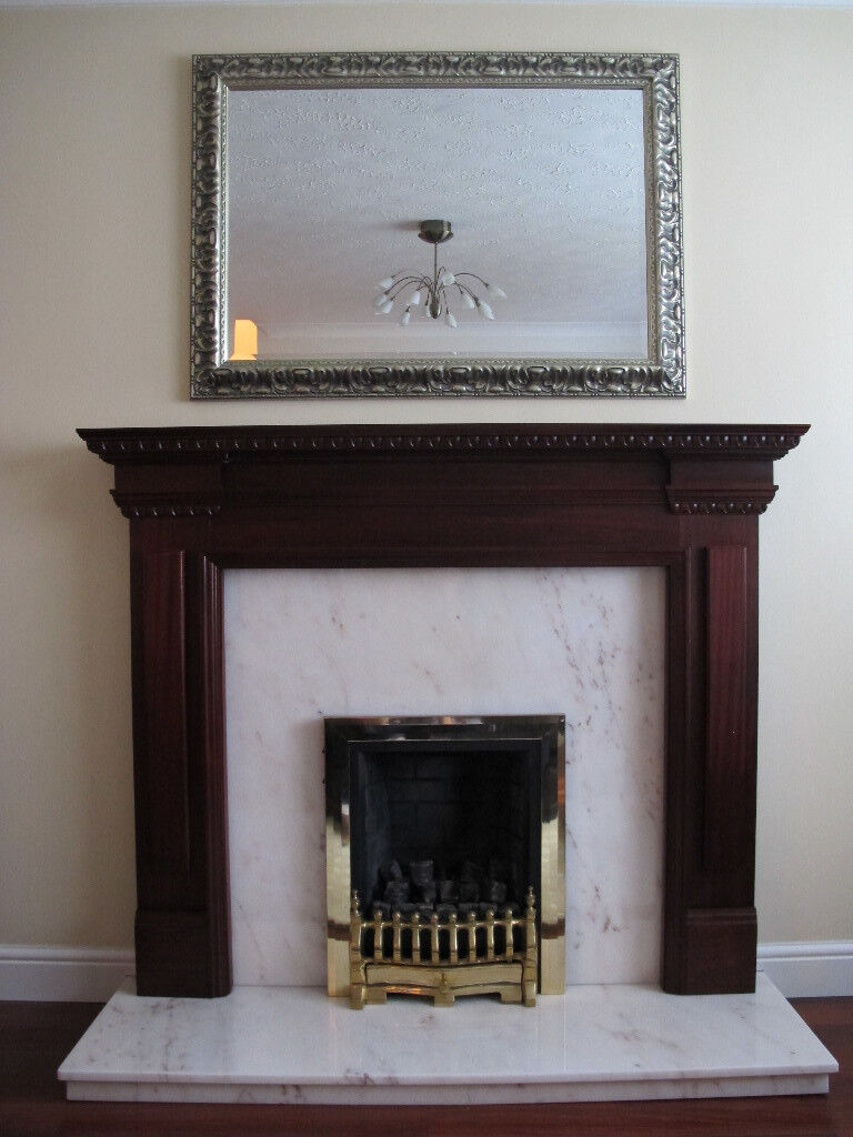 real mahogany fireplace surround with portuguese marble hearth