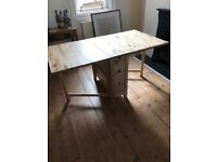 Wooden Dining Room Table & 2 Chairs