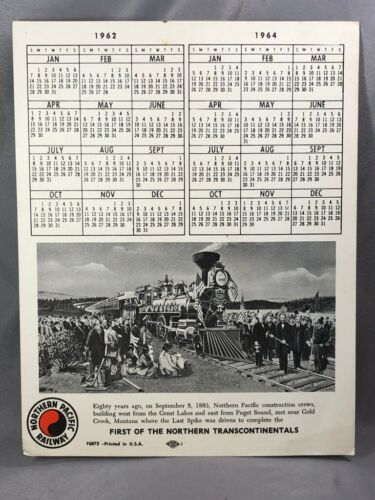 1963 NORTHERN PACIFIC RAILWAY Railroad CALENDAR Vintage Advertising