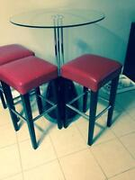 Bar height glass top table and chairs