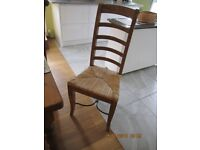 Solid Pine Dinning Table and Six Hard Wood Chairs