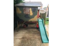 1yr old wooden playhouse with slide