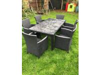 Set 6 rattan chairs and table