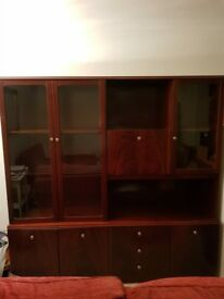 large glass cabinet mahogany coloured
