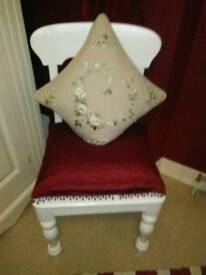 ANTIQUE VICTORIAN WHITE PAINTED , SOLID PINE CHAIR, WITH HAND TURNED LEGS