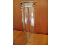 Weck German cylinder preserves jar, complete with glass lid, rubber seal and 2 metal clips. £2.