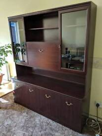 Display Glass Cabinet Unit with Lamps - Retro Vintage