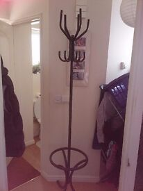 Vintage metal coat and hat stand