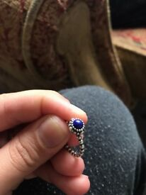 Pandora Ring, Blue stone, Fits a SMALL finger
