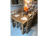 6ft farmhouse dining table and 6 chairs rustic