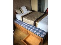 3ft single line pine bed with pull out guest bed and pull out draws