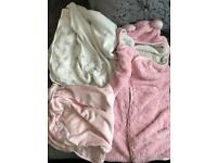 Baby girls blankets and towels