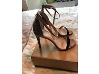 River Island snake and nude Heels Size 7