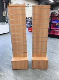 Pair of Double Sided Retail Display Stands on Casters