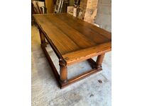 Solid fruitwood dining table and six chairs