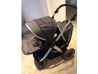 Babystyle Oyster Max 2 double/ tandem pushchair and Britax car seat full travel system in grey