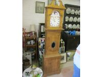 ANTIQUE VICTORIAN SOLID PINE GRANDFATHER CLOCK WITH LATTER DAY MOVEMENT (BATTERY) VIEWING/DELIVERY