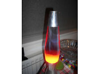 Vintage Mathmos Lava Lamp With Orange Lava & Blue Tinted Water
