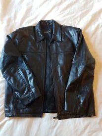 Mens Black Jacket - Genuine Leather (By Ben Sherman) £20