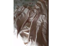 """Pair of pale pink/oyster silk pinch pleat curtains 54"""" x70"""" each"""
