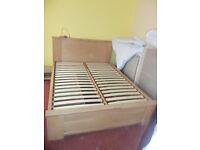 John Lewis King Size Bed Frame in Light Oak with drawer storage.