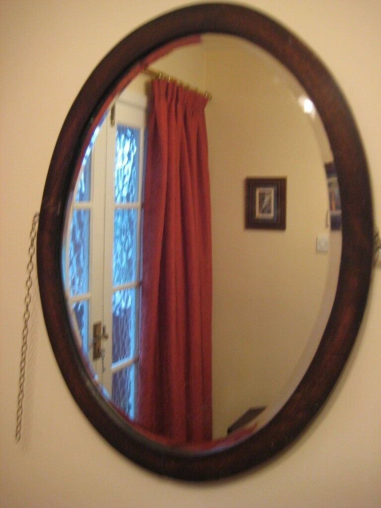 Vintage Oval Mirror In Dark Wood Frame Bevelled Edge Glass Wooden Back And Hanging Chain 15 In Sheffield South Yorkshire Gumtree