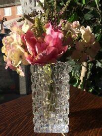 Genuine Solid Glass Heavy Tiffany Vase