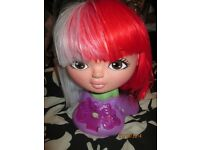 red and white half and half l bob style fancy dress wig new great for st georges day