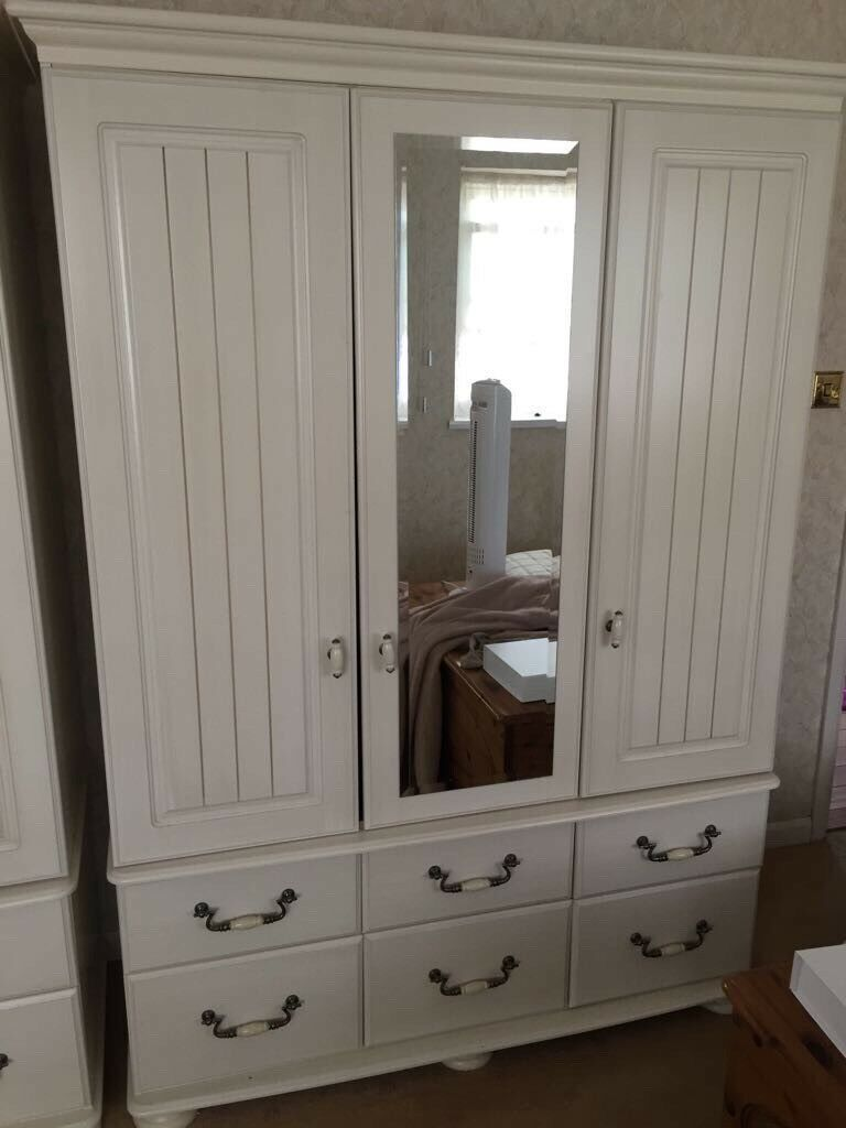 French ivory wardrobe and matching chest of drawers