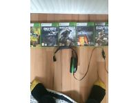 Gioteck Xbox 360 head set and games including call of duty and watchdogs