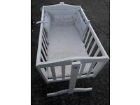 babies white wood swinging crib