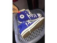 Blue converse hi tops worn once size 4