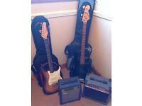 Bass and Lead Guitar c/w Amps, leads and carry bags