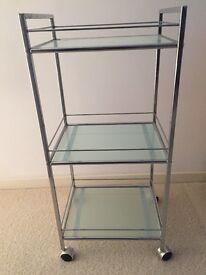 Bathroom shelves drinks trolley, glass, 3 tiered, bedside table wheels