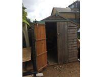 Wooden Overlap Apex Garden Shed/Outdoor Storeroom. Double door, solid sheet floor & roof. Dismantled