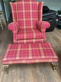 Fully reupholstered Chair and footstool