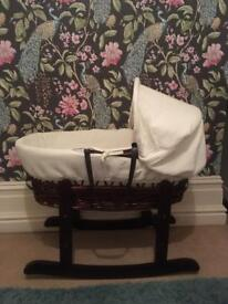 Cream waffle dark Wicker Moses Basket And Stand