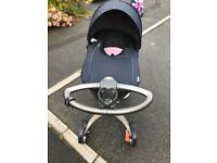 Stokke Xplory navy blue with summer and Winter Kit Cot attachment and car seat