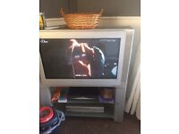 26 inch silver tv and stand