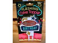 FLASHING CAKE TOPPER - PACKAGED - BRAND NEW - EX SHOP STOCK