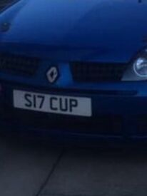 Private reg for sale looks nice on a Clio 172/182 cup