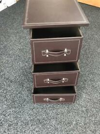 Brown Faux Leather drawers