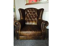 For sale beautiful set of 2 brown leather chesterfield armchairs in perfect condition