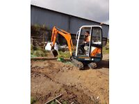 Mini digger with operator for hire