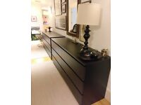 Two black dressers. Ikea Malm. Excellent condition.
