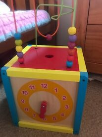 Wooden activity cube in excellent condition