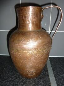 Large Vintage Hammered Copper Water Jug / Pitcher